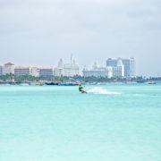 Kite surfer on Aruba island in the Caribbean