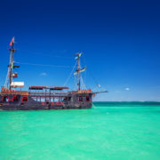 A replica of an old ship in the Caribbean sea near Punta Cana, Dominican Republic